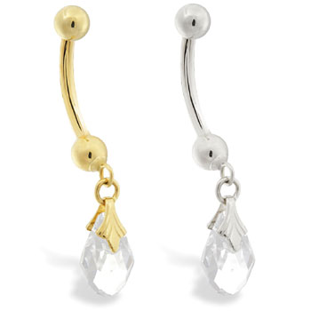 14K Gold belly ring with dangling clear swarovski crystal teardrop