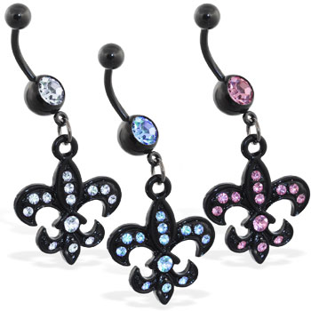 Black coated belly ring with dangling jeweled fleur-de-lis
