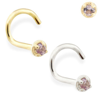 14k Gold Nose Screw With 1 5mm Alexandrite Gem