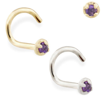 14K Gold nose screw with 1.5mm Amethyst gem