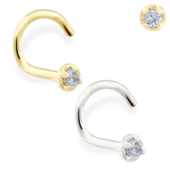14K Gold nose screw with 1.5mm Blue Zircon gem