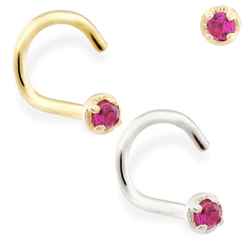 14K Gold nose screw with 1.5mm Garnet gem
