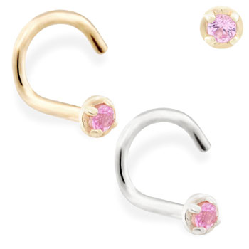 14K Gold nose screw with 1.5mm Pink Tourmaline gem