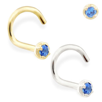 14K Gold nose screw with 1.5mm Sapphire gem
