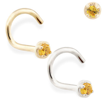 14K Gold nose screw with 1.5mm Citrine gem