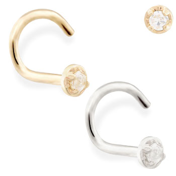 14K Gold nose screw with 1.5mm clear CZ gem