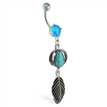Belly ring with dangling turquoise stone and feather