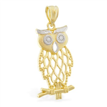 14K Yellow Gold Owl Charm with White Gold Accents