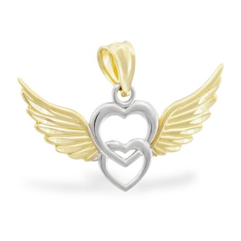 14K Yellow Gold And White Gold Heart And Wings Charm