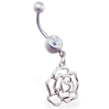 Navel ring with dangling rose outline