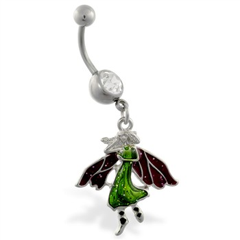 Jeweled belly ring with dangling glittery fairy