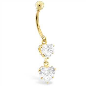 14K Gold Belly Ring With Dangle Double Clear CZ Hearts