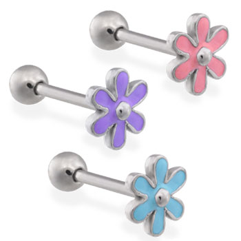 Straight Barbell With Epoxy Colored Flower Top, 14Ga