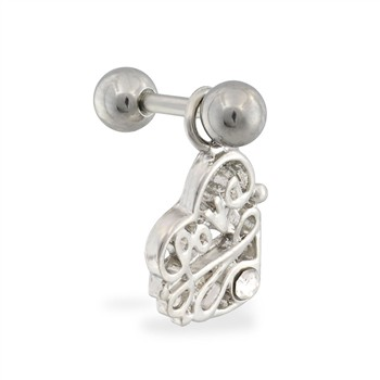 "Steel cartilage barbell with jeweled ""LOVE"" heart dangling charm"