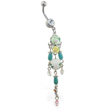 Vintage rose chandelier belly button ring