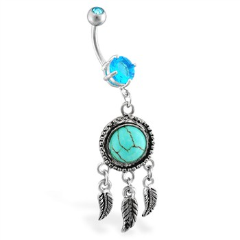 Jeweled Belly Ring With A Feathers Chandelier