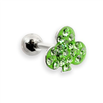 Steel cartilage barbell with jeweled clover top, 16 ga