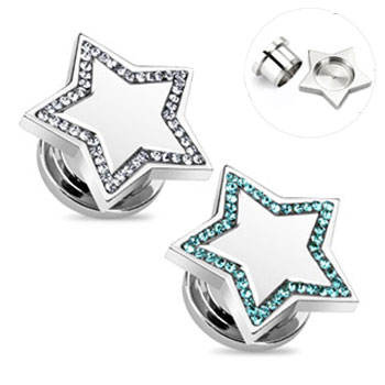 Pair Of Stainless Steel Jeweled Star Plugs