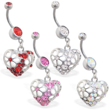 Belly ring with dangling jeweled floral heart