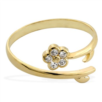 14K yellow gold toe ring with jeweled flower