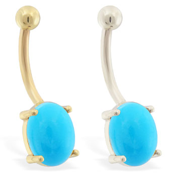 14K Gold Belly Ring with Natural Sleeping Beauty Turquoise Stone