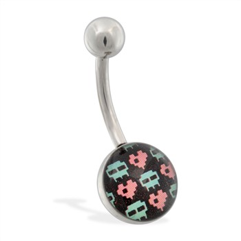 Pixelated Skull and Heart Logo Belly Ring