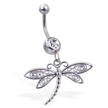 Belly ring with dangling elegant dragonfly
