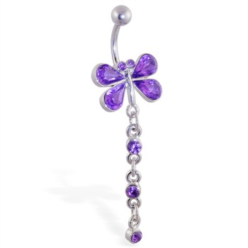Purple dragonfly belly ring with dangling gems and chains