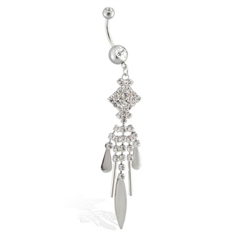 Belly ring with long jeweled dangling geometric chandelier