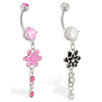 Navel ring with jeweled flower dangle