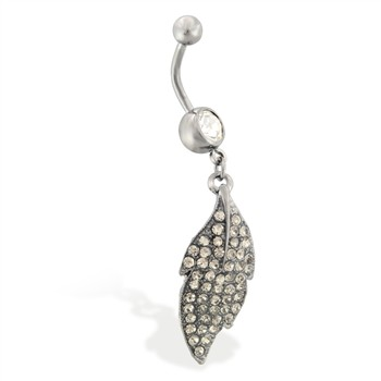 Hematite plated jeweled belly ring with dangling jeweled leaf