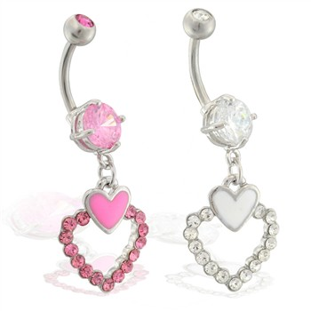 Navel ring with dangling jeweled double hearts
