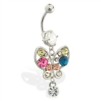 Belly ring with dangling multi-colored jeweled butterfly