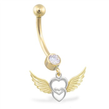 14K Yellow and White Gold belly ring with dangling heart and wings