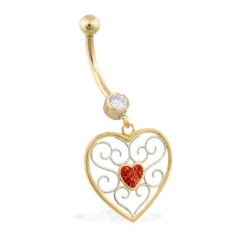 14K Yellow Gold belly ring with dangling heart charm and red glitter center