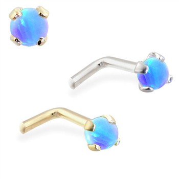 14K Gold L-shaped Nose Pin with 2mm Round Blue Opal