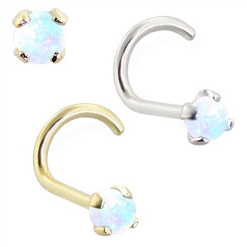 14K Gold Nose Bone with 2mm Round White Opal