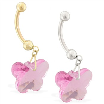 14K Gold Belly Ring with Dangling Pink Swarovski Crystal Butterfly