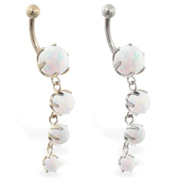 14K Gold belly ring with quadruple white opal dangle