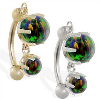 14K Gold reversed belly ring with double Rainbow opal dangle
