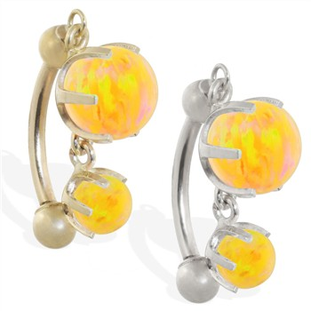 14K Gold reversed belly ring with double Yellow opal dangle