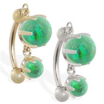 14K Gold reversed belly ring with double Green opal dangle