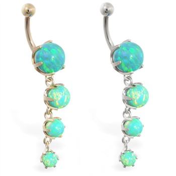 14K Gold belly ring with quadruple green opal dangle