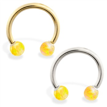 14K Gold Horseshoe/Circular Barbell with Yellow Opal Balls