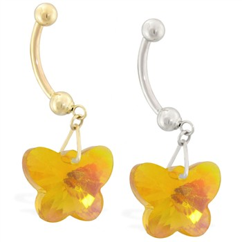 14K Gold Belly Ring with Dangling Yellow AB Swarovski Crystal Butterfly