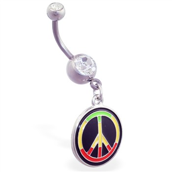 Navel ring with dangling rasta colored peace sign