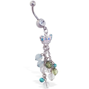 Navel ring with dangling butterfly and multi-color stones