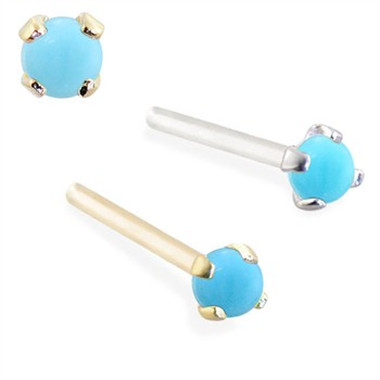 14K Gold Customizable Nose Stud with 2mm Round Cabochon Turquoise