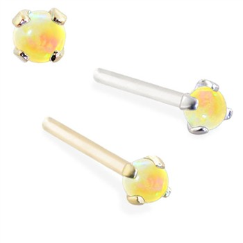 14K Gold Customizable Nose Stud with 2mm Round Yellow Opal