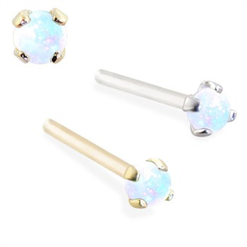 14K Gold Customizable Nose Stud with 2mm Round White Opal